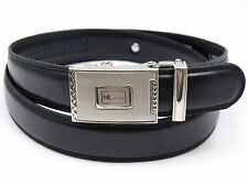 MENS HIGH QUALITY BLACK LEATHER BELT WITH AUTOMATIC BUCKLE DESIGNED BY MILANO