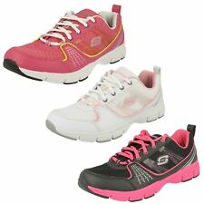 LADIES LACE UP COMFORTABLE SKECHERS TRAINERS IN BLACK AND HOT PINK 99999795