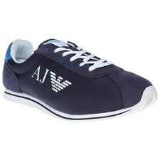 New Mens Armani Jeans Blue Canvas Runner Trainers Lace Up