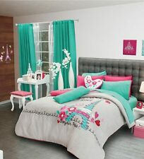 Twin and Ful/Qeen Size Girls/Teens Paris Comforter Set with matching curtains