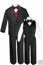 Boys Satin Shawl Lapel Suits Tuxedo EXTRA Burgundy Bow Tie Vest Set Outfits S-18