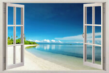 3d Window Scape Instant View Graphic Art Mural Tropical Wall Decal Sticker