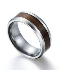 Tungsten Carbide Ring Wood Inlay Beveled Edges 6mm 8mm Size 7-11.5