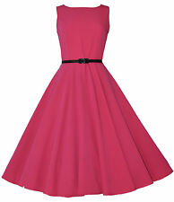 CLASSIC 50's VINTAGE AUDREY PINK ULTRA FLARED SWING JIVE ROCKABILLY DRESS  8-20