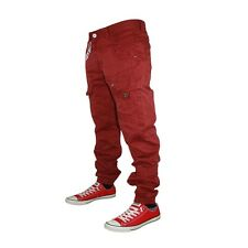 MENS BOYS JEANS ETO EM364 CUFFED JOGGER RED CHINOS STRAIGHT FIT