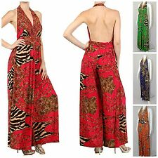 HALTER ANIMAL PRINT PALAZZO JUMPSUIT LONG LENGTH SILKY STRETCHY BEACH 4 COLORS!