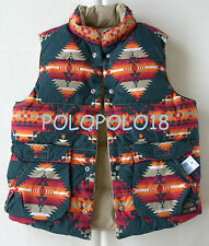New Ralph Lauren Denim Supply Down Puffer Reversible Vest Aztec Indian S M