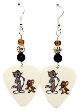 NEW! Handmade in USA Guitar Pick Earrings with Beads - TOM AND JERRY Cartoon