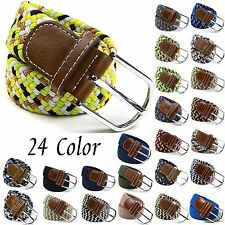 Mens Womens Elastic Cotton Stretch Braided Belts Tabbed Twisted Casual Waistband