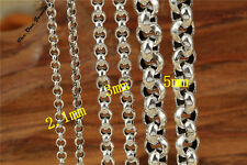 Solid Sterling Silver Belcher Curb Bead Chain Necklace 18 20 22 24 26 28 30 Inch