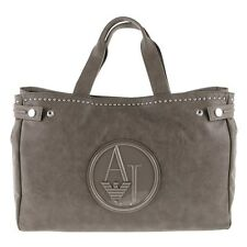 New Womens Armani Jeans Taupe Studded Synthetic Leather Bag Handbags