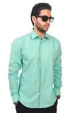 New Mens Dress Shirt Solid Green Tailored Slim Fit Wrinkle Free Cotton AZAR MAN