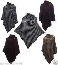Tricot Poncho Femmes Style Avec Design Bouton Stylé taille 36 42