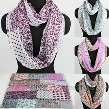 Fashion Women's Floral Dot Infinity Polyester Loop Cowl Eternity Circle Scarf