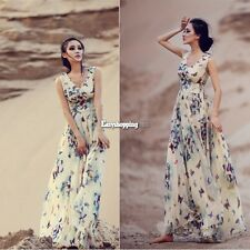V Neck Butterfly Printed Bohemia Summer Casual Chiffon Dresses Maxi Formal Gowns