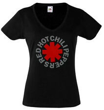 RED HOT Chili Peppers Asterix Lady Black New T-shirt Rock Woman V-neck Rock Band