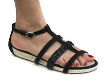 Odeon Black Plaited Strap Womens Espadrille Strappy Sandals ALL SIZES