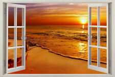 Window 3D Sunshine Instant View Beach Wall Decal Sticker Graphic Mural KIDS