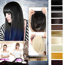 fringe bangs straight clip-ins on clip in hair extensions black brown blonde red