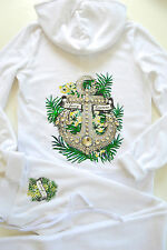 Juicy Couture Velour Anchor Hibiscus Tracksuit Hoodie Pants Set White S M