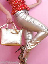 Juicy Couture Foil Coated Skinny Gold Pants Metallic Jeans
