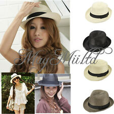 New 1Pcs Unisex Fedora Trilby Gangster Cap Summer Beach Sun Straw Panama Hat  O