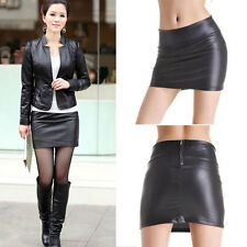 Sexy Women High Quality Imitation Retro Faux Leather Wet Look Skirt Clubwear