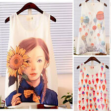 New Sweet Girls Ladies Chiffon T-Shirt Cami Tank Vests Tops Round Neck