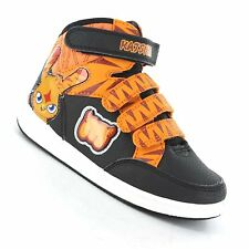 BOYS MOSHI MONSTERS BLACK/ORANGE HI TOPS ANKLE BOOTS TRAINERS,VELCRO STRAPS