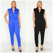 SEXY PLUS SIZE HAREM JUMPSUIT ULTRA FLATTERING FIT SOLID BLUE or BLACK USA MADE