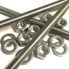 M5 A2 Stainless Threaded Bar - Studs - Studding Rod - With or Without Nuts