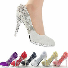 Wedding Bridal Bridesmaid Crystal Shoes Glitter High Heels Women Silver Black