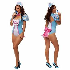 Sexy Blue White Adult Cry Baby Romper Bib Funny Hot Halloween Costume Outfit
