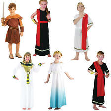 Childrens Roman Fancy Dress Costume Cleopatra Goddess Toga Emperor