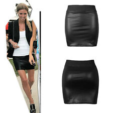 Black Sexy Bodycon Skirt Women High Wasit Faux Leather Look Zip Mini Short Skirt
