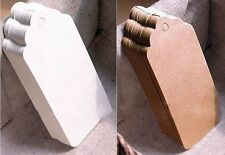 BLANK CARD PAPER GIFT TAGS WEDDING SCALLOP LABEL BROWN OR WHITE LUGGAGE + STRING