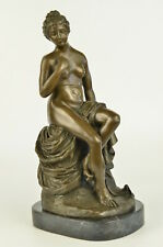 Erotic Large Bronze Metal (Not Resin) Sculpture of a Nude Naked Girl Female Deco
