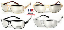 GOLD SILVER BLACK AVIATOR RECTANGLE METAL FRAME MIRROR LENS SUNGLASSES SHADES