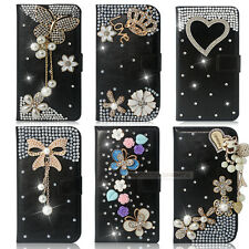 New 3D Black Bling Diamond Wallet Leather Case Cover For Motorola Moto G