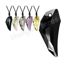 Fashion Women Men's Wolf's Tooth Austrian Crystal Pendant Adjustable Necklace