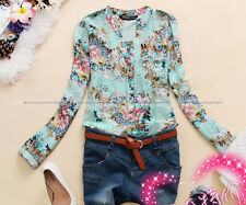 New Women Slim Flower Floral Shirt V Neck Long Sleeve Blouse Top Tee M L WSHT450