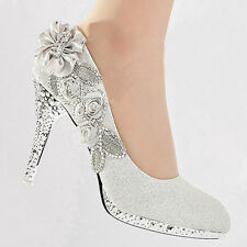 Silver Wedding Bridal Bridesmaid Crystal Shoes High Heels Women Evening Party