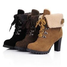 Women Sexy Mid-Calf Boots Shoelace 9cm High Heels Warm Winter Shoes 3Color 34-43