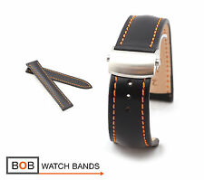 RIOS1931 Juchten Calf Deployment Strap for Omega, 20 & 22 mm, black, new!
