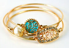 Gold Toned Filigree Swirl Pearl and Crystal Studded Set of 3 Bangle Bracelets