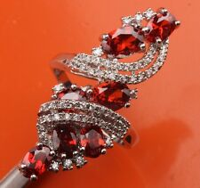 ATTRACTIVE Red Garnet Topaz Gemstones Silver Rings US#Size5 6 7 8 9 B5506
