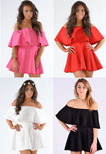 Womens Ladies Frill Off The Shoulder Flared Frankie Mini Party Skater Dress 8-14
