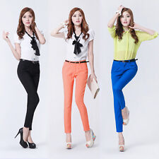 Women Casual Candy Color Skinny Career OL Slim Pencil Pants Trousers With Belt