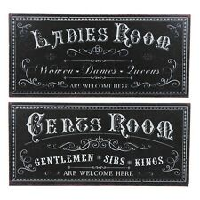 Ladies or Gents Room Black and White Tin Metal Wall Door Toilet Plaque Sign