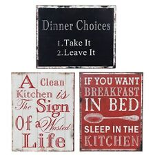 Humorous Kitchen Theme Tin Metal Wall Plaque Sign Dining Room 24cm x 19cm